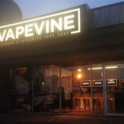 Windsor Vape Shop, VapeVine.ca.  Exterior at night.