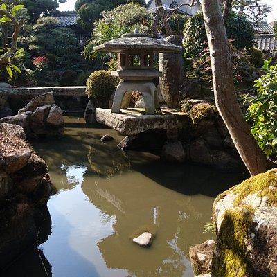 裏山からの豊富な地下水を巧みに利用した、石組みが見事な庭園。現在は開発されて地下水が無くなり池が濁っていますが、ごく最近まで清流が流れたそうな。
