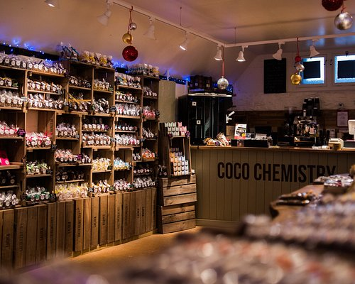 a huge range of chocolate from slabs to truffles, chocolate salamis, take-away hot chocolate and coffee!
