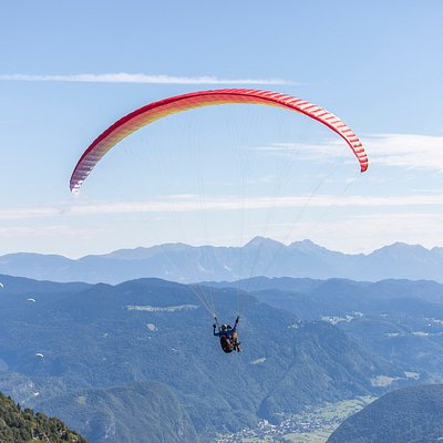 After the takeoff at Vogel (Bohinj, Slovenia).