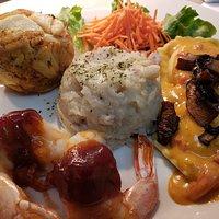 Trio of Bacon Bbq Shrimp, Crab Cake and Lobster Ravioli
