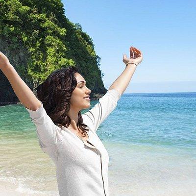 Tourist at Blue Lagoon Beach