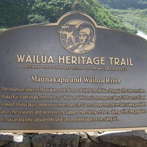 Trail sign at Opaekaa Falls.
