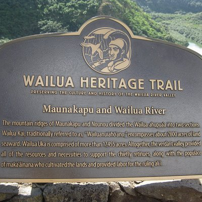 Trail sign at Opaekaa Falls.