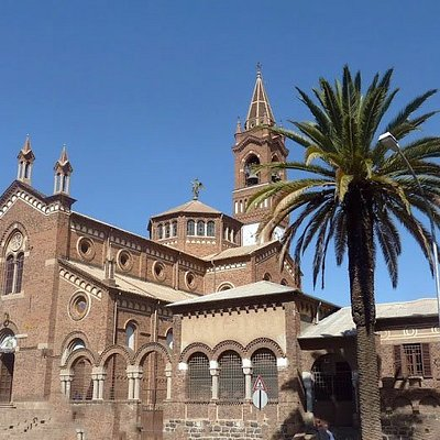 """The Roman Catholic church in Asmara, Eritrea. Often called """"the cathedral"""", it is a large Lombard Romanesque style church in the centre of the city, built in 1923 to serve as the principal church of the Apostolic Vicariate of Eritrea."""