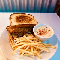 Our Chicken Fried Chicken Sandwich with fries