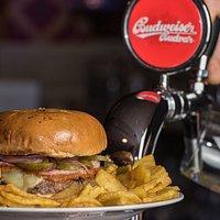 U.S.Black Angus Burger with Original Budvar on Tap