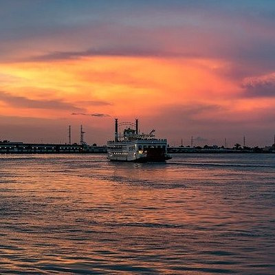 New orleans boat at sunset