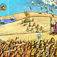 El cuadro del caricaturista Weil que representa la filosofía de Mannà Gelats