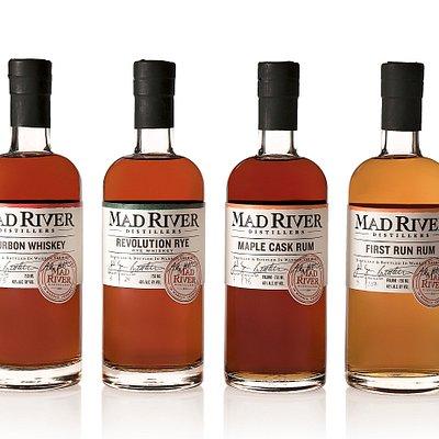 Core line- Bourbon, Revolution Rye, First Run Rum and Maple Cask Rum
