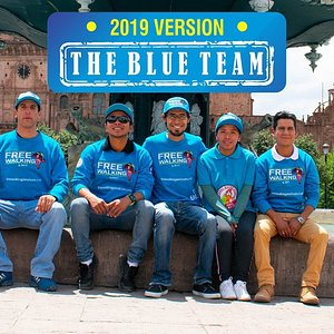 Find us in the main plaza by the fountain and recognize  THE BLUE TEAM