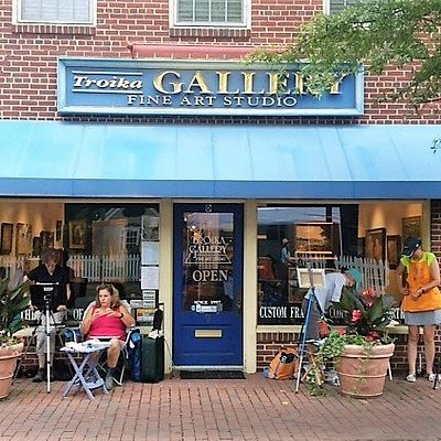 Troika Gallery, July 2018, artists painting at the Plein Air Easton Paint Out.