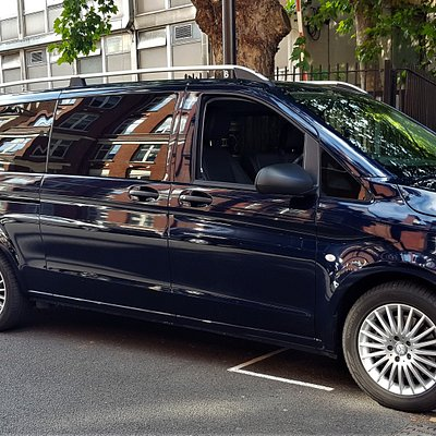 8 passenger seat Mercedes minivan with popup luggage trailer.