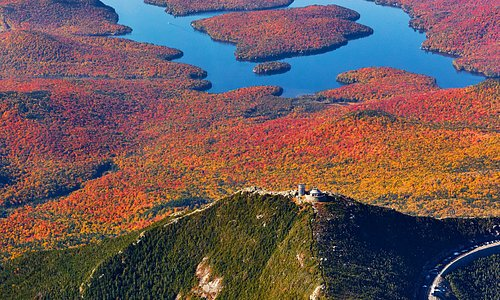 Whiteface Mt With Lake Placid in the background shot from a plane.