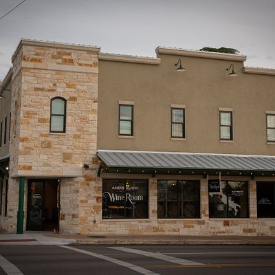 Andreucci WineRoom, on the corner of Main and Washington, downtown Fredericksburg, Texas.