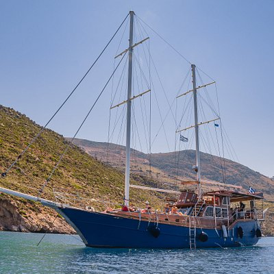 """Efplia is a traditional nineteen meter sailing boat, also known as a """"Turkish Gullet"""""""