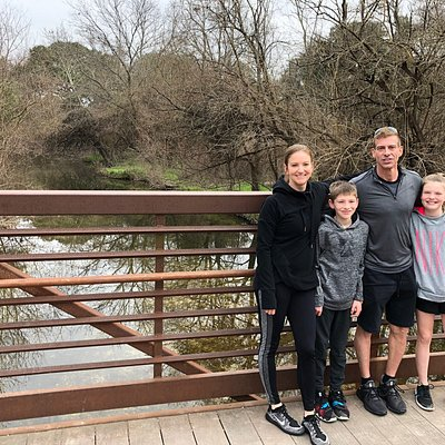 Great trail for a family bike ride.  Park at Twin Lakes park, Cedar Park for the trail head and ride bikes as far as 7 miles each way.