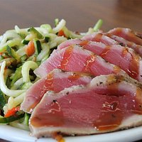 Zoodle and Ahi Salad - zoodles were combined with Mediterranean mix and just a little bit of goat cheese.  This made the bed for seared and sliced ahi tuna.