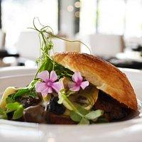 Warm fall mushroom on toast, Le Coprin fall mushrooms, roasted garlic, brioche bread, Quebec brie, fresh parsley.