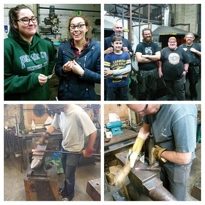 Students during and after a blacksmithing class. Check the Flameworks website for Open Days and events.