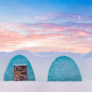 The iconic entrance to ICEHOTEL - an artexhibition and hotel made out of ice and snow.