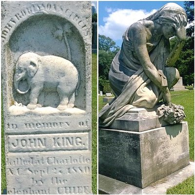 Just two of the markers in Elmwood. The first one is the grave of the man killed by Chief the elephant when a circus came thru town.