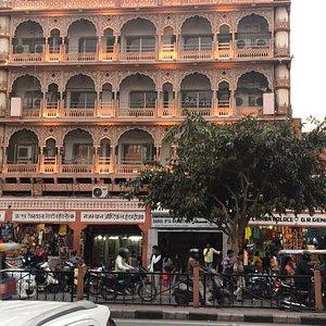 Mosque facade on busy street