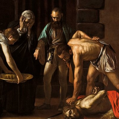 Detail from the Beheading of St John the Baptist by Caravaggio