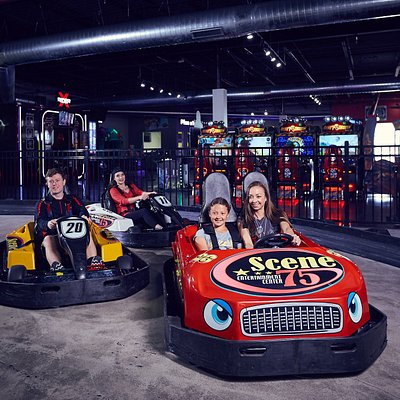 Indoor go-karts with both single seat and double seat options, allowing for nearly all ages to have a FUNtastic time!