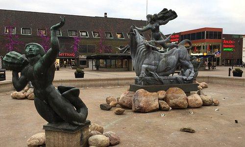 Europa och Tjuren på Stora Torg i Halmstad