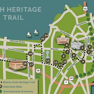 Boston's Irish Heritage Trail map