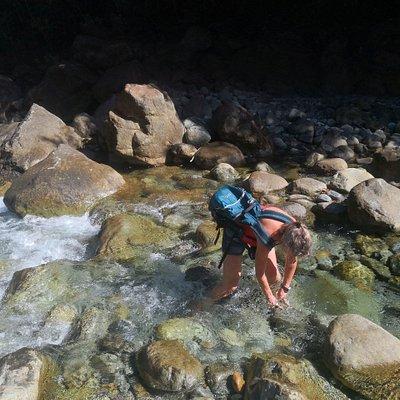 Ga-Ong River. Near Magdiwang. Hiking through the stony river bed.