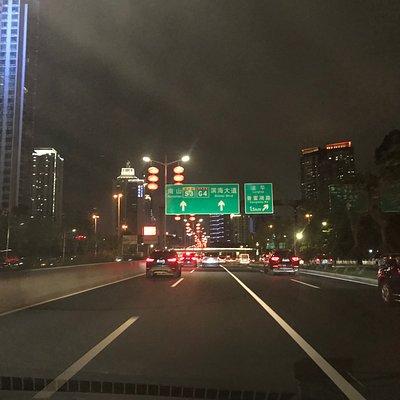濱河大道から、濱海大道へと続く標識。 ショッピングパークから南下した地域。