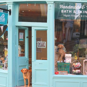 Molly - meeting and greeting at our natural skincare shop in Scarborough Old Town