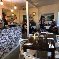 Restaurant interior is modern and cosy