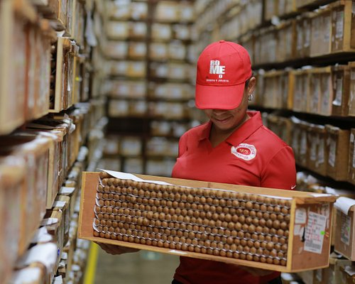 Storing cigars in one in one the largest aging rooms in the world.