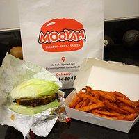 Black Bean burger with iceberg and sweet potato fries
