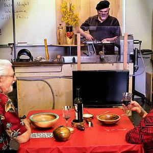 Unusual Night Out Experience - Woodturning and Pizza. Make a ball point pen with Woodpops. Great date night or ladies night out activity. https://woodpops.com/article-blog/learn-to-make-a-wood-pen-unique-night-out-with-pizza-and-woodturning/