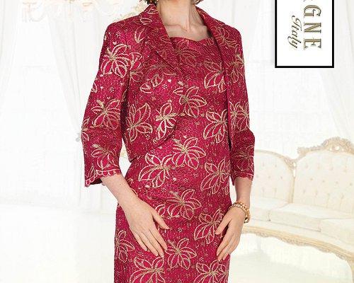 Champagne Italy 5401 Lace Jacket Dress Exculsive Metallic Color Dark Facshia Size 8-26