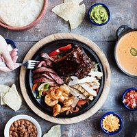 Fajita fiesta with an order of con queso