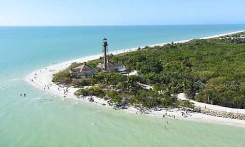 Sanibel Island, Fl. -- The Sanibel Island Light or Point Ybel Light was one of the first lighthouses on Florida's Gulf coast north of Key West and the Dry Tortugas. The light, 98-foot above sea level, on an iron skeleton tower was first lit on August 20, 1884 and has a central spiral staircase beginning about 10 feet above the ground. The grounds are open to the public, but not the lighthouse itself.  Photo by Peter W. Cross