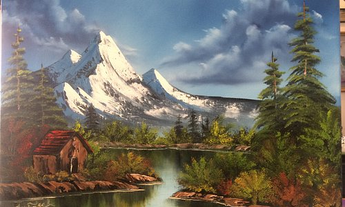 Completed mountain landscape by Certified Bob Ross Painting Instructor, TrueLeah.