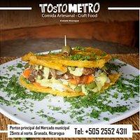 TostoBurger de res!!! Tostometro Granada Nicaragua