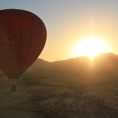 Our Spirit balloon over the Vekol Valley and the Sonoran Desert National Monument at sunset!