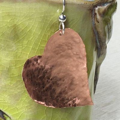 Hand Forged Copper Heart Earrings by Elizabeth Janecka.