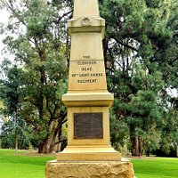 This memorial commemorates the troopers of Western Australia's 10th Light Horse Regiment who died in WWI. When he laid the foundation stone in 1920, Governor Francis Newdegate used a trowel made of steel from a Turkish bayonet taken at Beersheba. Unveiled on 13 March 1921, the graceful, seven-metre obelisk, made by Day and Company of Perth, is of solid WA granite. (credit: www.highgate-rsl.org.au)
