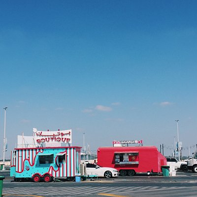 Colorful food trucks all around