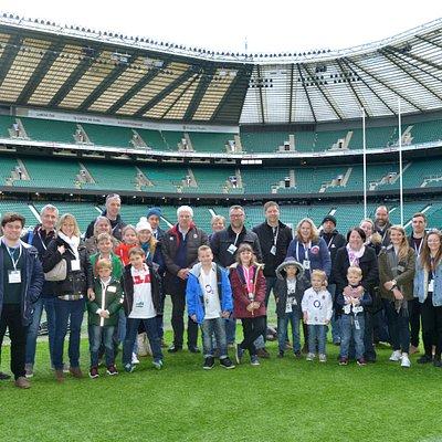 Group pitchside on a Twickenham Stadium Tour