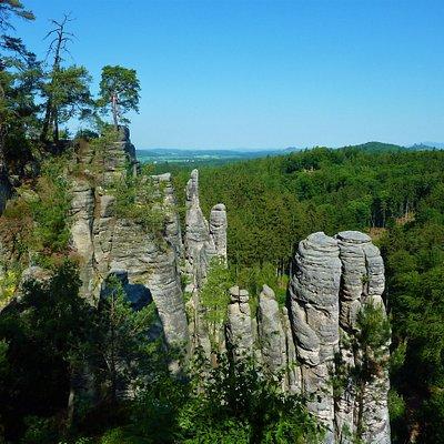 Day trip from Prague to Bohemian Paradise UNESCO Geopark. Rock town of Prachov Rocks.
