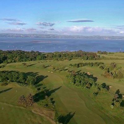Aerial landscape of Caldy Golf Club